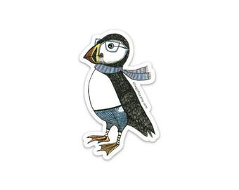 Puffin sticker. Puffin with a scarf illustration sticker