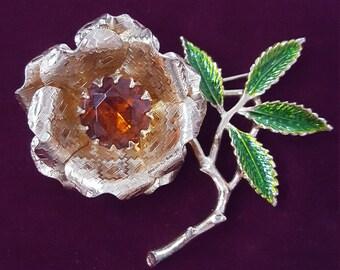 Flower Brooch- Vintage LARGE Sarah Cov Rhinestone Floral Brooch- Gold Brooch- Vintage Brooch Pin, Green Enamel Rose Sarah Coventry