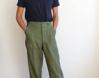 Vintage 60s OG 107 Army Green Utility Trousers/ Vietnam Era/Button Fly/ Sateen Cargo/ Size 27 l7jMCfUg
