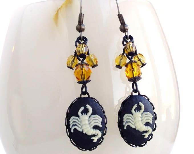 Scorpio Zodiac Earrings Victorian Astrology Cameo Earrings Scorpion Vintage Victorian Zodiac Jewelry Scorpio Astrology Jewelry