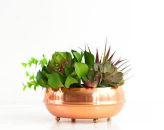 Mid Century Footed Copper Bowl / Coppercraft Guild Planter / Copper and Brass Plant Pot / Vintage Copper Planter / Copper Succulent Planter
