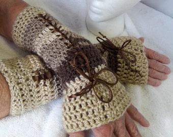Crochet Lace-Up Fingerless Gloves,Fingerless Gloves,Lace-Up Gloves,Arm Warmers,Victorian Gloves,Handmade Gloves,Victorian Corset Gloves