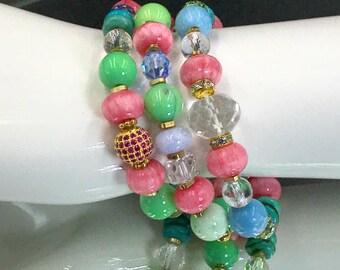 Colorful Gemstone Stacking Bracelet Set of 3 Pave CZ Charm Stretch Layering Bracelet Yoga Bracelet Turquoise Crystal Rhodocrosite Boho Chic