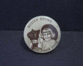 Vintage Buster Brown Blue Ribbon Shoes Pinback