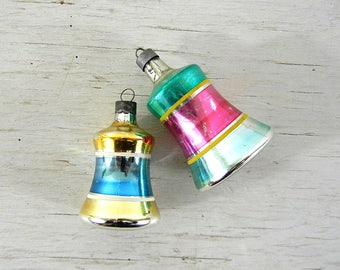2 Striped Glass Bell Ornaments | Bell Ornaments | Vintage Christmas Ornaments | Made in USA