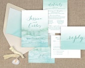 beach wedding invitations, destination wedding invitations, watercolor invitations, aqua wedding, tropical wedding, printed invitations