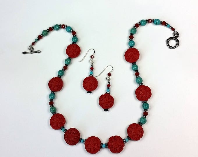 Red Cinnabar with Turquoise Necklace and Earrings Set