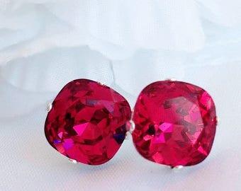 SALE 20% Off Crystal Stud Earrings - Pink - Swarovksi Earrings - Summer Jewelry - JOLIE Fuchsia