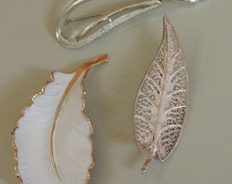 3 Vintage Leaf Brooches