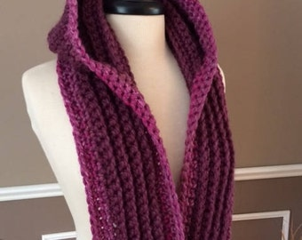 "Ultra Plush Nordic Hooded Scarf, in color ""black cherry"" ready to ship!"