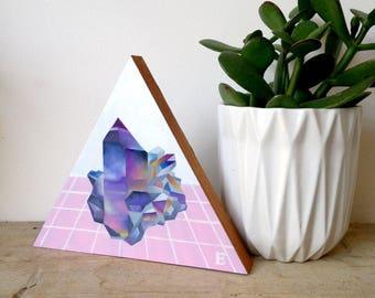 Quartz Crystal geometric gem Oil Painting on wooden block