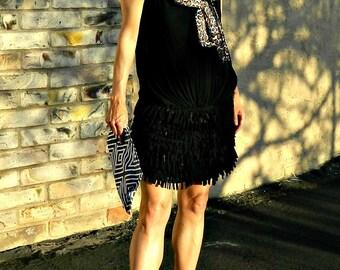 Boho Clothing-Womens Clothing-Mini Skirt-Boho Chic Clothing-Womens Skirts-Wrap Skirt-Maternity-Hand Cut Layered Fringe Callie Style