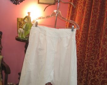 "1890's, 30"" waist, white broad cloth cotton wide legged bloomers."