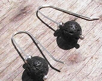 diffuser bead earrings. lava rock earrings. diffuser jewelry. gemstone earrings. handcrafted jewelry.