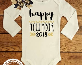 New Years Eve Outfit- Baby Infant Toddler Kids Shirt- Happy New Year 2018 Shirt- Celebrate New Year Black and Gold Silver Fancy Shirt- #058
