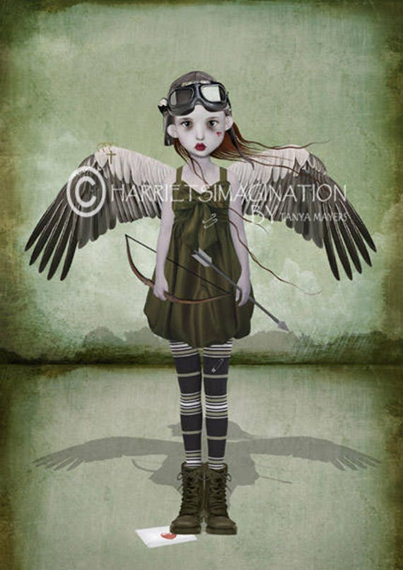 Steampunk Art Print - Cupid - Steampunk Angel - Steampunk - Love Art Print - Wall Decor