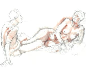 Nude pencil drawing with terracotta pastel. Life sketch. Male & Female Nude, couple drawing, erotic art.  Art by Nancy Farmer. 2017-07