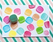 macaroon rubber stamp | cake stamp | sweets stamp | birthday wedding scrapbooking | diy party favor bags | hand carved by talktothesun