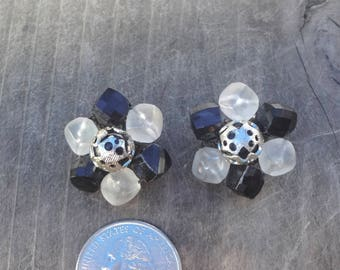 Vintage Black White Clip On Earrings Plastic Beads W Metal Center Measures 1 Inch Slightly Rusty On Back Of Clip Made In West Germany