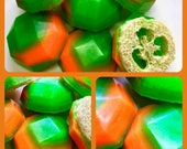 Cucumber Melon Soap - Loofah Soap - Loofa - Green and Melon Orange - FREE U.S. SHIPPING - Exfoliator - Gift for Mom - Spa - Woman Gift