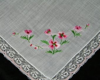 Vintage Hand Embroidered Lace Trim Pink Floral Wedding Sewing  Handkerchief, Hankie, Hanky, 9884