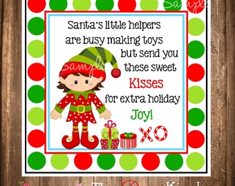 Elf Kisses gift Tags or Stickers, Instant download Elf Tags, Girl Elf, Classroom favors, Holiday Favor Tags, Holiday Gift Tags, You print