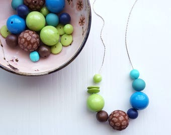 strut necklace - vintage remixed lucite - colorblock - lime navy aqua brown - chunky jewelry