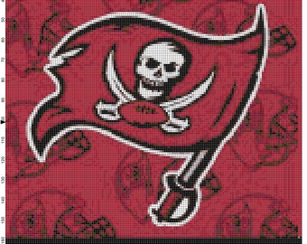 NFL Tampa Bay Buccaneers Flag Counted Cross Stitch Pattern