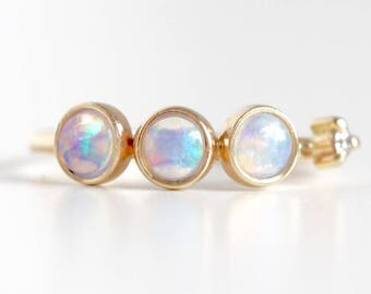 Opal and Diamond Ring in 14k Gold - Recycled Diamond and Opal Stacking Ring - Anniversary Ring - October Birthstone Ring