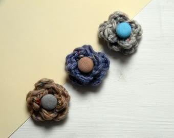 Men lapel flower. Lapel pin. Wool boutonniere. Men accessories. Grey, hazelnut or denim blue.