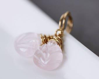 Rose Quartz Earrings Gold | Blush Earrings | Blush Pink Earrings | Healing Earrings | Chakra Jewelry | Pink Blush Earrings | Dainty Earrings