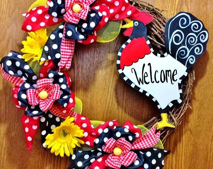 Rooster - Welcome Door Wreath
