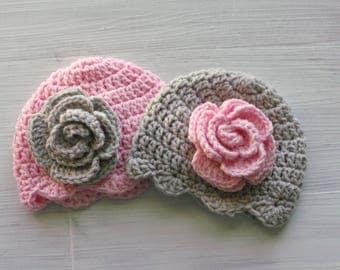Baby Girl Twin Hats, Crochet Flower Baby Hat, Pink and Gray Baby Hats, Crochet Rose Hat, Twin Baby Shower Gift, Twin Photo Props