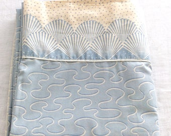 Full Flat Sheet Blue Seashells Collier Campbell by Martex Vintage Bedding