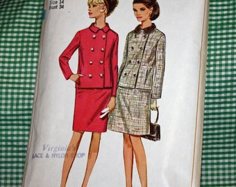 """Vintage 1960s Sewing Pattern, Simplicity 7265, Misses' Suit With Two Skirts, Misses' Size 14, Bust 34"""", Estate Sale Find, Old2NewMemories"""