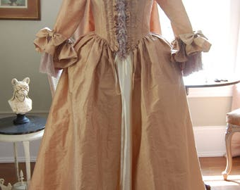 Second payment for KatieM1724 Anitque Apricot silk sack back dress satin cream skirt Marie Antoinette rococo costume dress