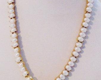 Trifari Vintage Faux Pearl Necklace - Adjustable