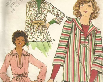 Vintage 70s Butterick 4445 UNCUT Misses Casual Tunic Top with Optional Hood Sewing Pattern Size 14 Bust 36