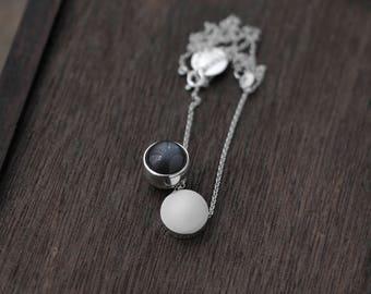 Grey Moonstone ball-like double pendant necklace