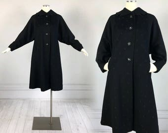 Vintage 1950s Plus Size Black Wool SWING COAT with dolman sleeves A-Line Voloup embroidered 50s pinup rhinestones Styline L xl xxl batwing