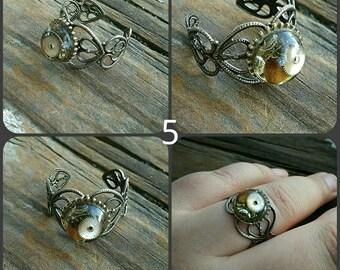 Steampunk adjustable filigree rings