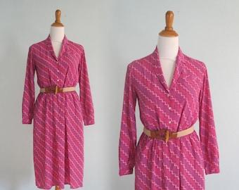 80s Silk Dress - Vintage Jack Mulqueen Raspberry Pink Dress - Pretty 80s Chevron Striped Silk Dress - Vintage 1980s Dress M