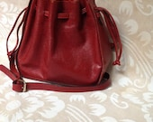 Vintage Burgundy Bucket Bag Red Leather Bag Red Bag Burgundy Bag Purse Handbag
