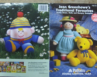 Vintage 1992 Jean GREENHOWES knitting patterns TRADITIONAL FAVORITES teddy bears dolls humpty dumpties children toys