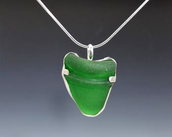 Authentic Green Sea Glass Necklace, Kelly Green Sea Glass Pendant, Green Seaglass Necklace