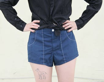 blue 1960s unisex cotton swim shorts / trunks. S