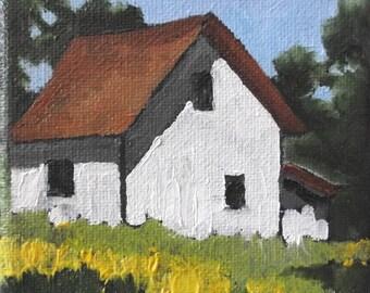 Miniature Painting 4x4 O/C Impressionist Plein Air Landscape California Farm House Lynne French
