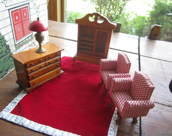 Dollhouse Decor. Living Room. 2 Upholstered Chairs, Sideboard, Bureau , Red Table Lamp #387