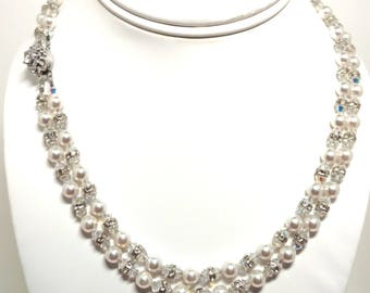 Pearl Necklace, Wedding Necklace, Swarovski, Bridal Necklace, double