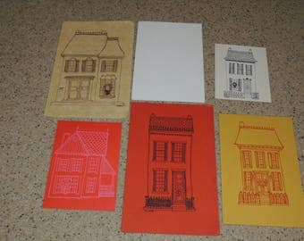 1970s Screen Printed House Christmas cards by Karen Klaus